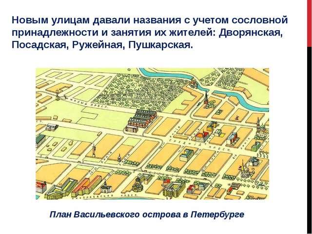 Новым улицам давали названия с учетом сословной принадлежности и занятия их ж...