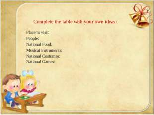 Complete the table with your own ideas: Place to visit: People: National Foo