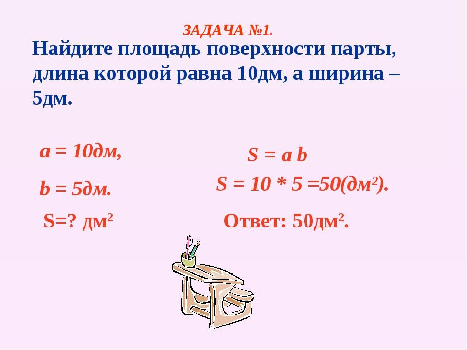 Найдите площадь поверхности парты, длина которой равна 10дм, а ширина – 5дм....
