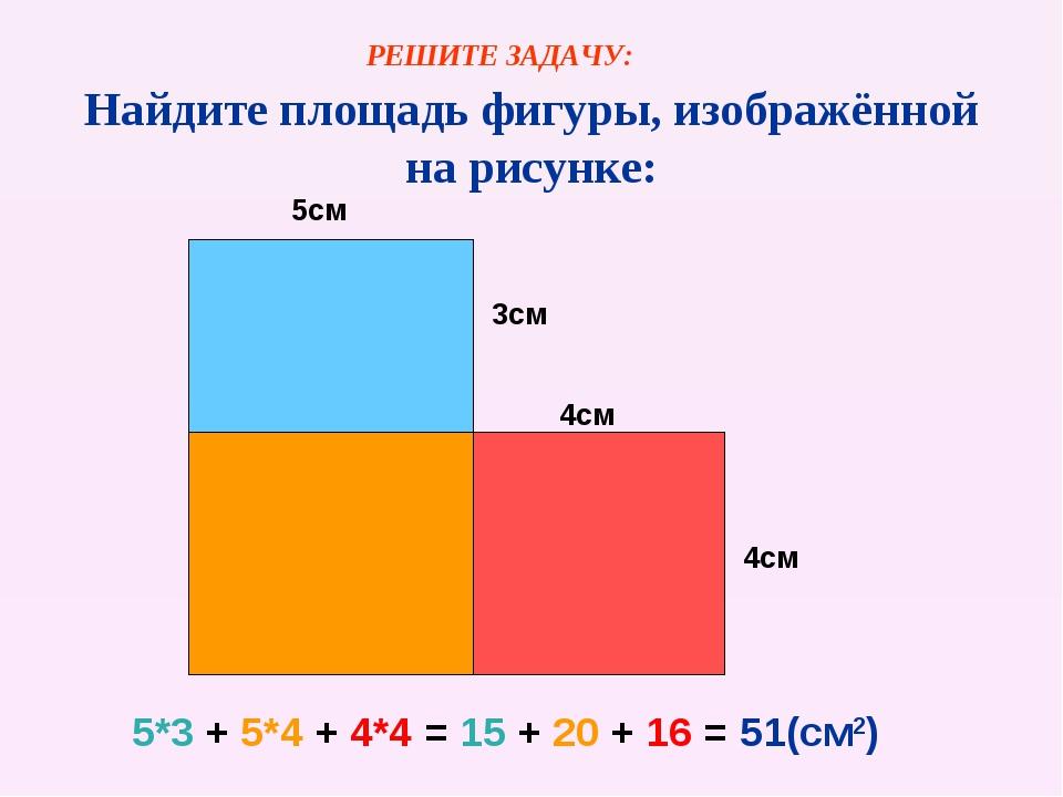 Найдите площадь фигуры, изображённой на рисунке: 5см 3см 4см 4см 5*3 + 5*4 +...