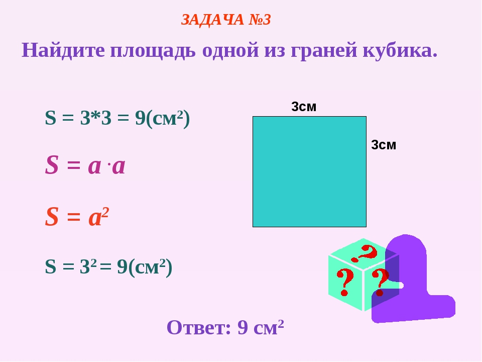 3см 3см S = 3*3 = 9(cм2) S = a .a S = a2 S = 32 = 9(cм2) ЗАДАЧА №3 Найдите пл...