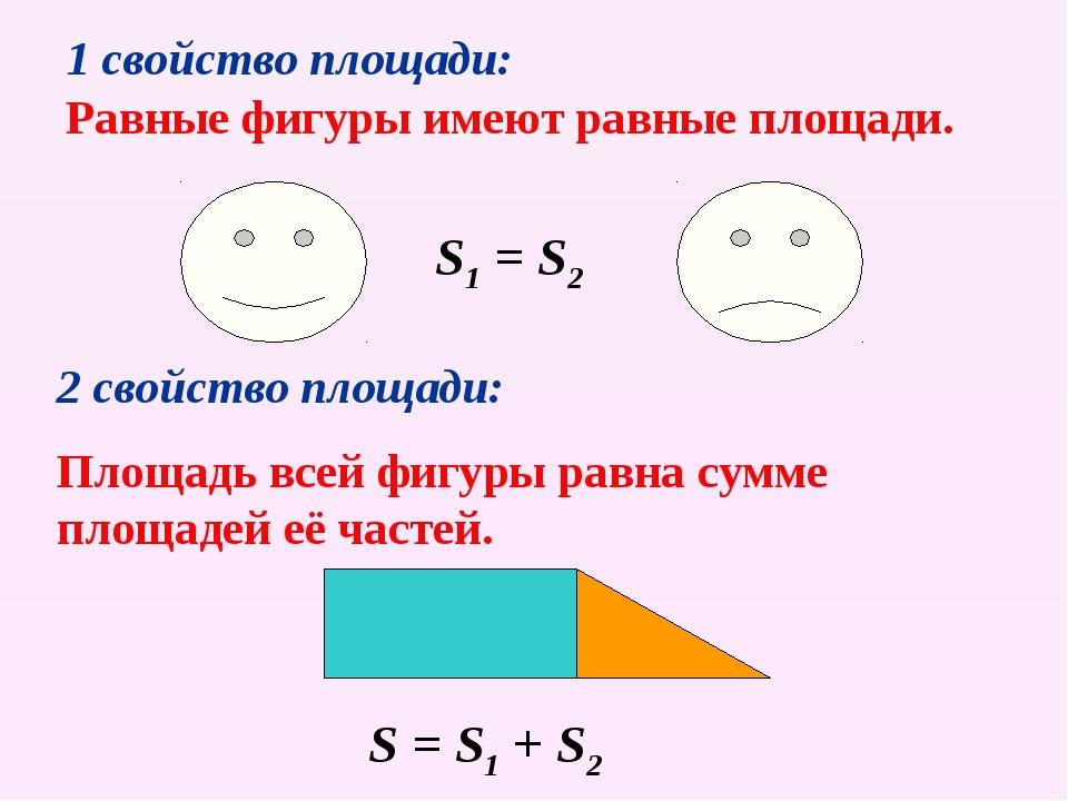 1 свойство площади: Равные фигуры имеют равные площади. 2 свойство площади: П...