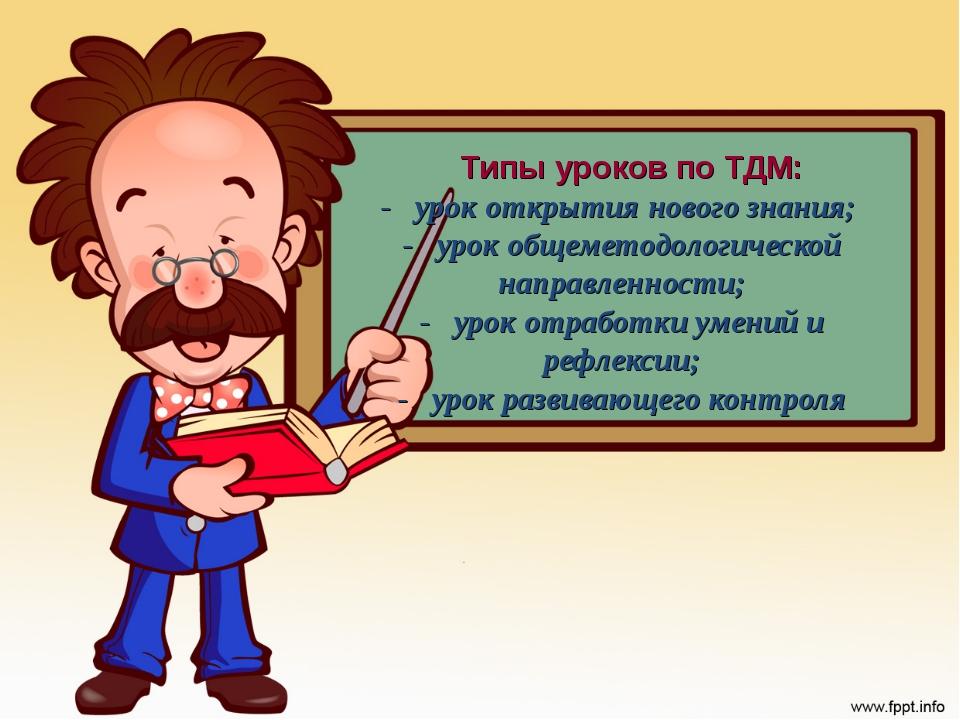 - урок открытия нового знания; - урок общеметодологической направленности; -...