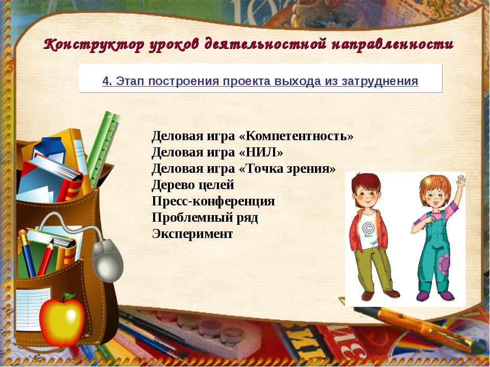 Конструктор уроков деятельностной направленности Деловая игра «Компетентность...