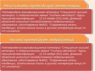 """Результаты предыдущей аттестации: Подтверждена квалификационная категория """"Сп"""