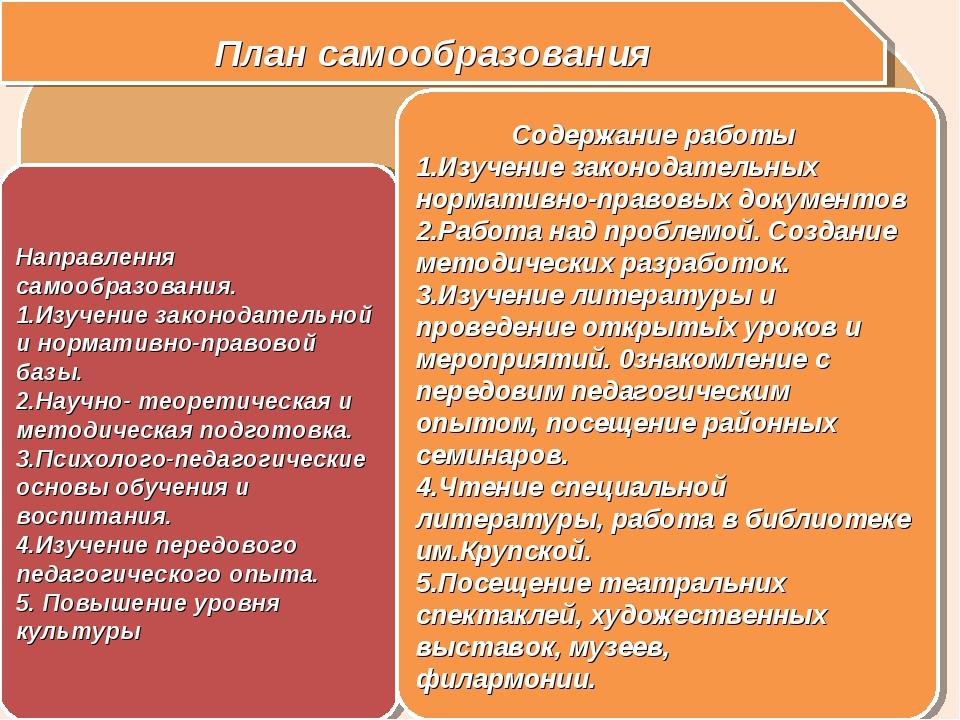 План самообразования Направлення самообразования. Изучение законодательной и...