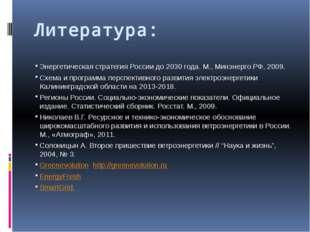 Литература: Энергетическая стратегия России до 2030 года. М., Минэнерго РФ, 2