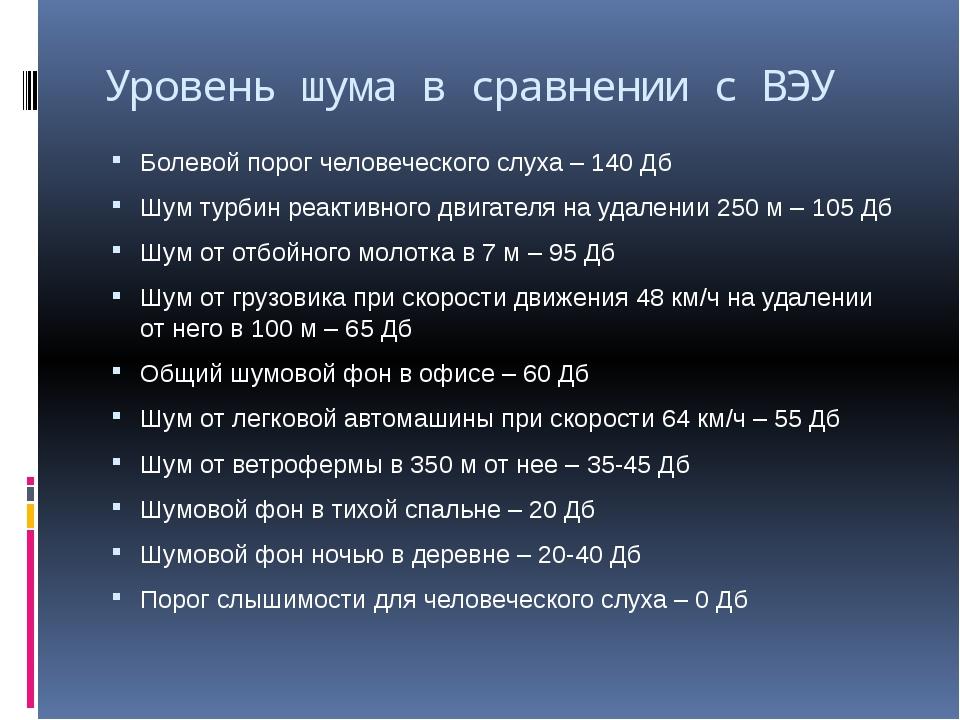 Уровень шума в сравнении с ВЭУ Болевой порог человеческого слуха – 140 Дб Шум...