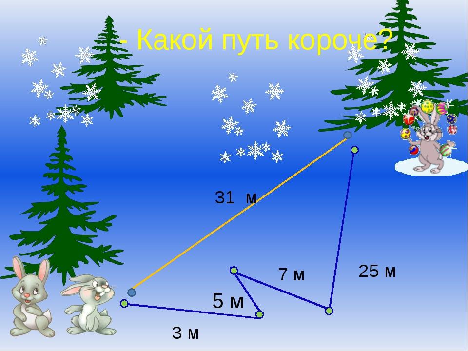 31 м 7 м 3 м 5 м 25 м - Какой путь короче?