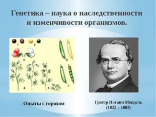 Генетика – наука о наследственности и изменчивости организмов. Грегор Иоганн