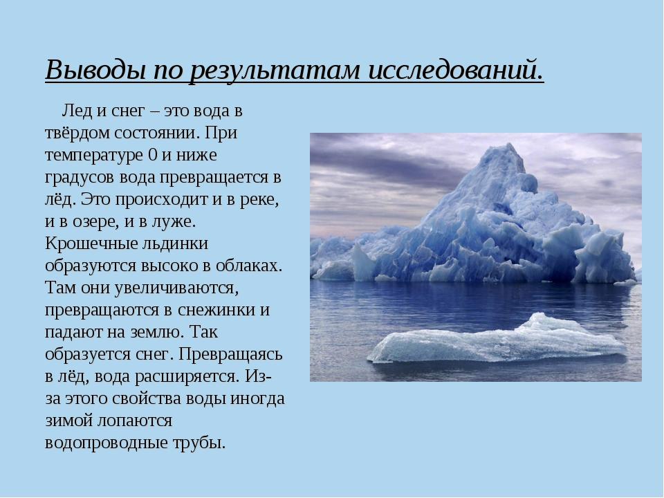 Выводы по результатам исследований. Лед и снег – это вода в твёрдом состоянии...