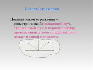 Законы отражения. Первый закон отражения – геометрический: падающий луч, отр