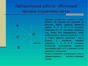 Лабораторная работа: «Изучение законов отражения света» О А С В зеркало Зада