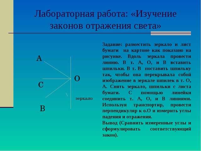 Лабораторная работа: «Изучение законов отражения света» О А С В зеркало Зада...