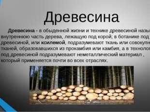 Древесина Древесина - в обыденной жизни и технике древесиной называют внутрен