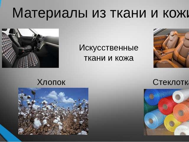 Материалы из ткани и кожи Хлопок Стеклоткань Искусственные ткани и кожа