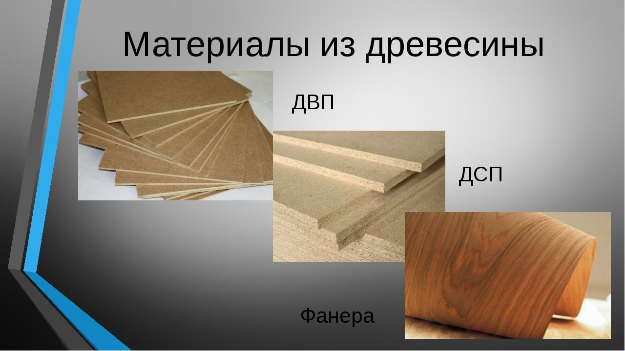 Материалы из древесины ДВП ДСП Фанера