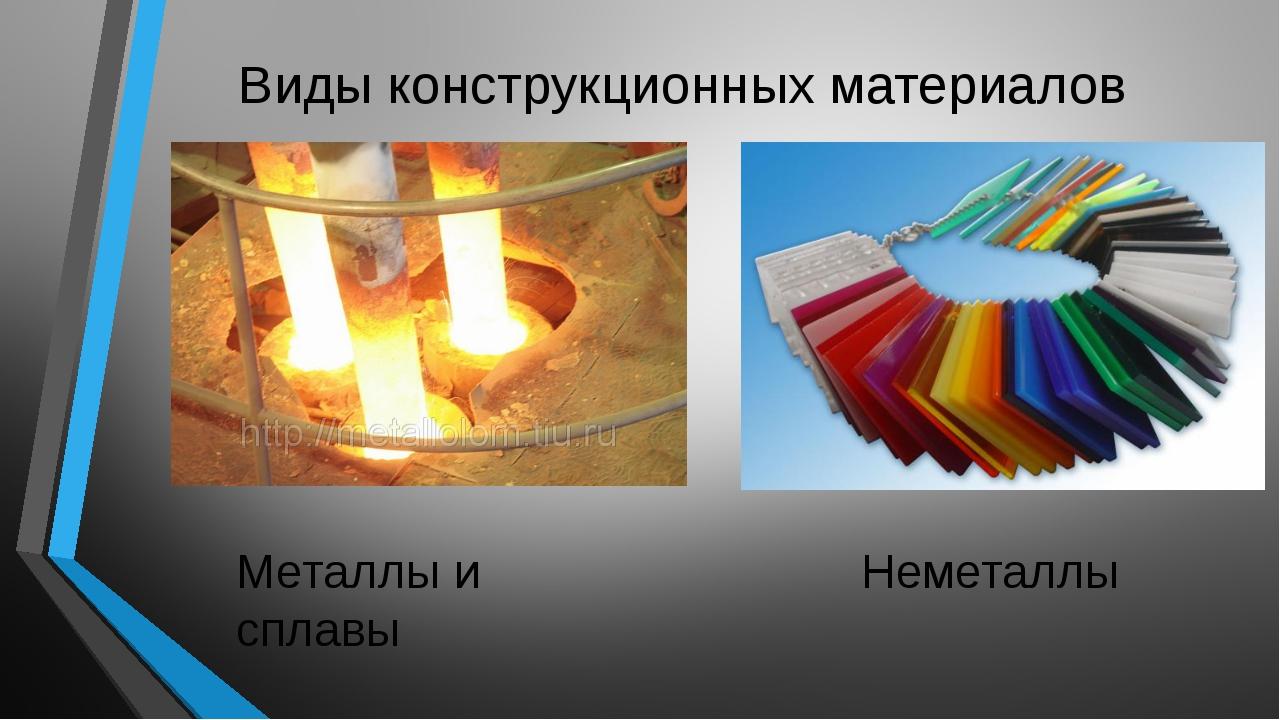 Виды конструкционных материалов Металлы и сплавы Неметаллы