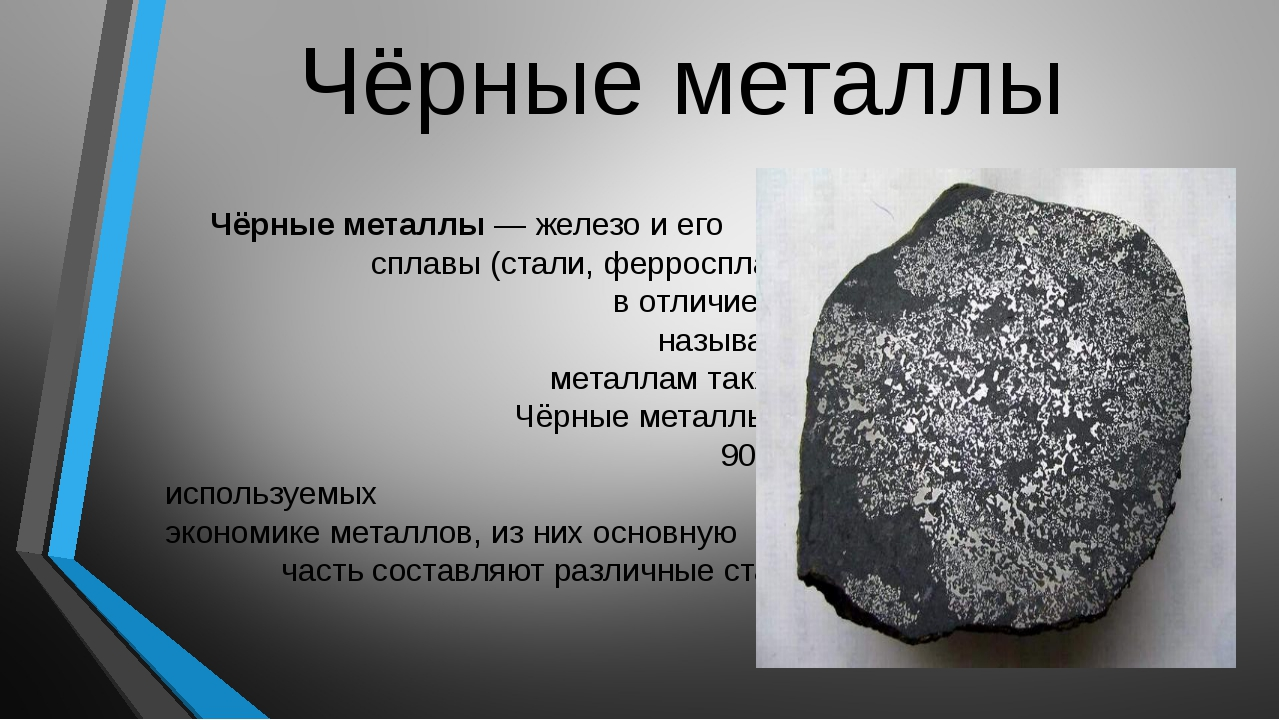 Чёрные металлы Чёрные металлы— железо и его сплавы (стали, ферросплавы, чугу...