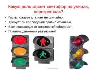 Какую роль играет светофор на улицах, перекрестках? Гость пожаловал к нам не