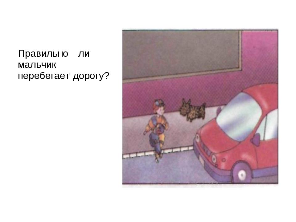 Правильно ли мальчик перебегает дорогу?