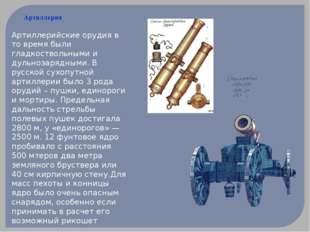 Артиллерия Артиллерийские орудия в то время были гладкоствольными и дульнозар