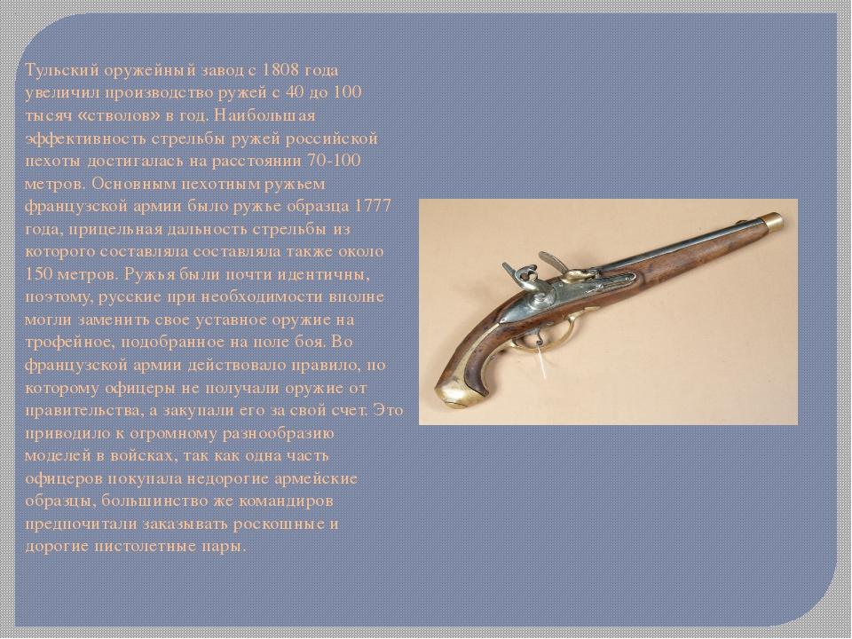 Тульский оружейный завод с 1808 года увеличил производство ружей с 40 до 100...