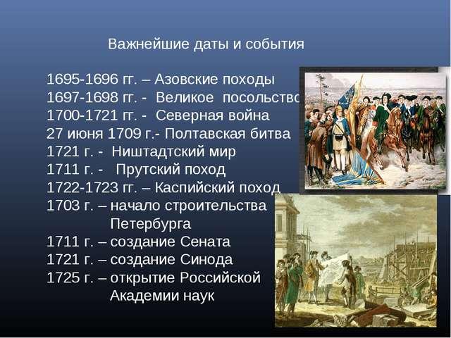 Важнейшие даты и события 1695-1696 гг. – Азовские походы 1697-1698 гг. - Вели...