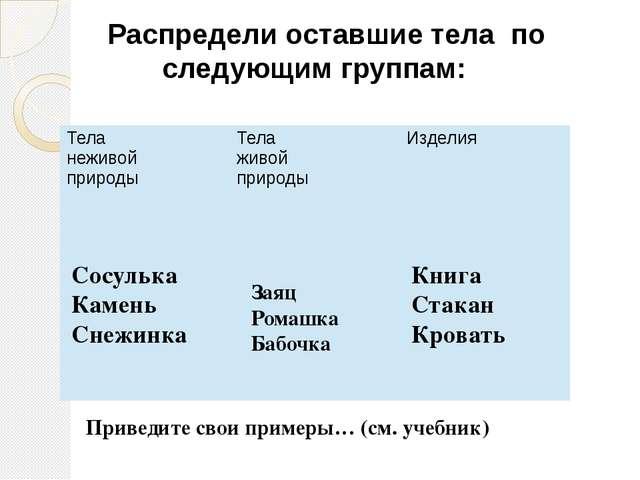 Распредели оставшие тела по следующим группам: Сосулька Камень Снежинка Заяц...