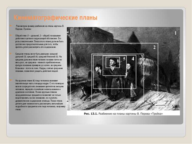 Кинематографические планы Рассмотрим пример разбиения на планы картины В. Пе...