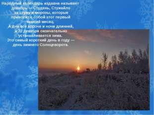 Народный календарь издавна называет декабрь — Студень, Стужайло за стужу и м