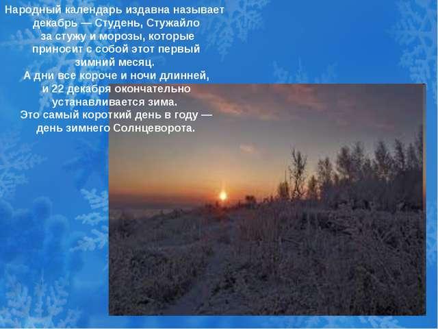 Народный календарь издавна называет декабрь — Студень, Стужайло за стужу и м...