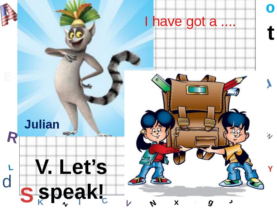 W C S b d E Y g H J K M L F o P Q t u R z l V x N Julian I have got a .... V....