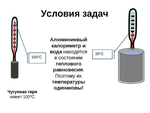 Условия задач Алюминиевый калориметр и вода находятся в состоянии теплового р...