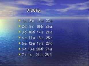 ответы 1-а 8-а 15-в 22-а 2-а 9-г 16-б 23-а 3-б 10-б 17-в 24-а 4-а 11-а 18-а