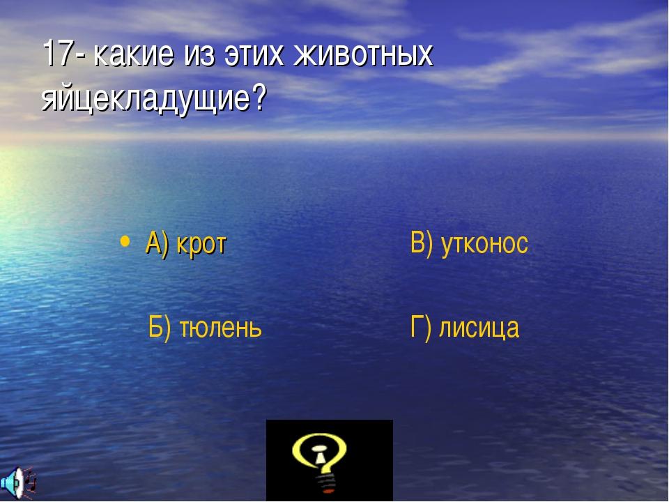 17- какие из этих животных яйцекладущие? А) крот Б) тюлень В) утконос Г) лисица