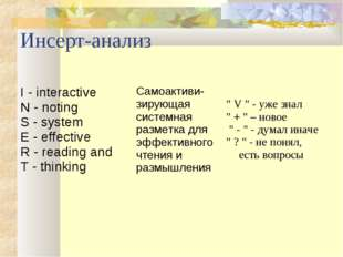 Инсерт-анализ I - interactive N - noting S - system E - effective R - reading