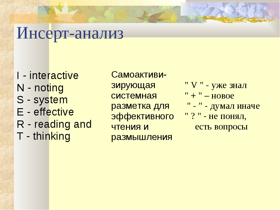 Инсерт-анализ I - interactive N - noting S - system E - effective R - reading...