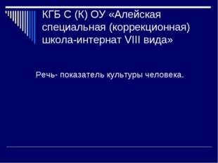 КГБ С (К) ОУ «Алейская специальная (коррекционная) школа-интернат VIII вида»