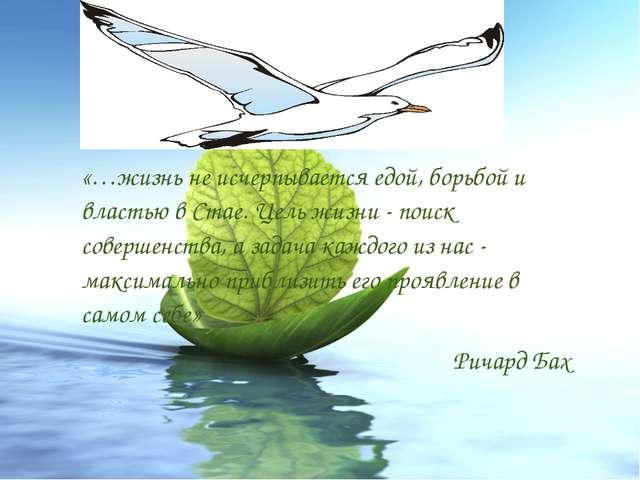 «…жизнь не исчерпывается едой, борьбой и властью в Стае. Цель жизни - поиск...