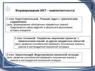 Формирование ИКТ - компетентности 1 этап. Подготовительный. Решение задач с