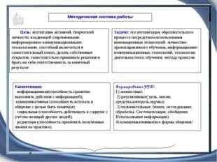Методическая система работы Цель: воспитание активной, творческой личности, в