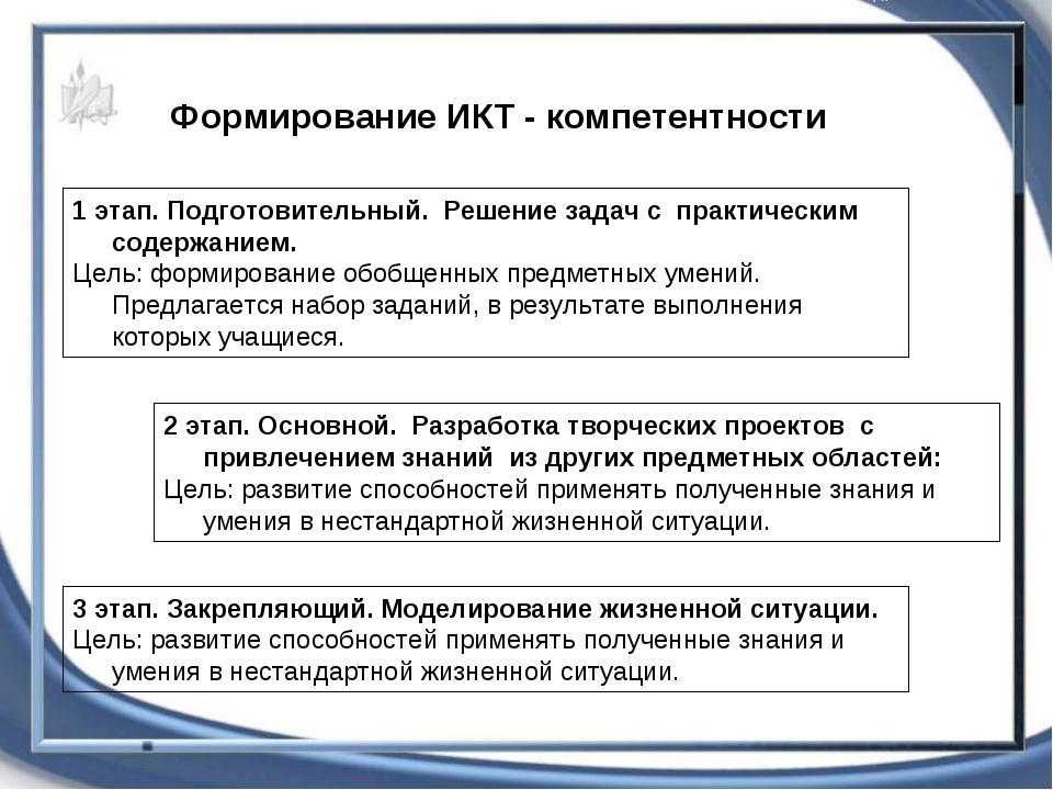 Формирование ИКТ - компетентности 1 этап. Подготовительный. Решение задач с...