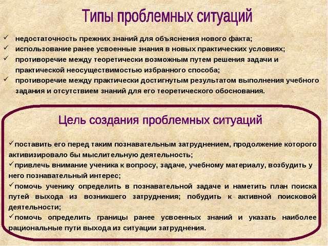 недостаточность прежних знаний для объяснения нового факта; использование ран...