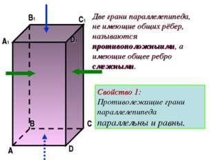 Две грани параллелепипеда, не имеющие общих рёбер, называются противоположныи
