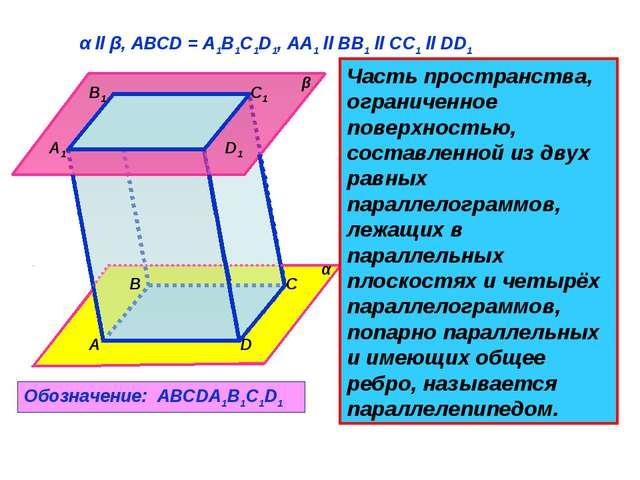 A B C D A1 B1 C1 D1 β α α ll β, АВСD = A1B1C1D1, AA1 ll BB1 ll CC1 ll DD1 Час...