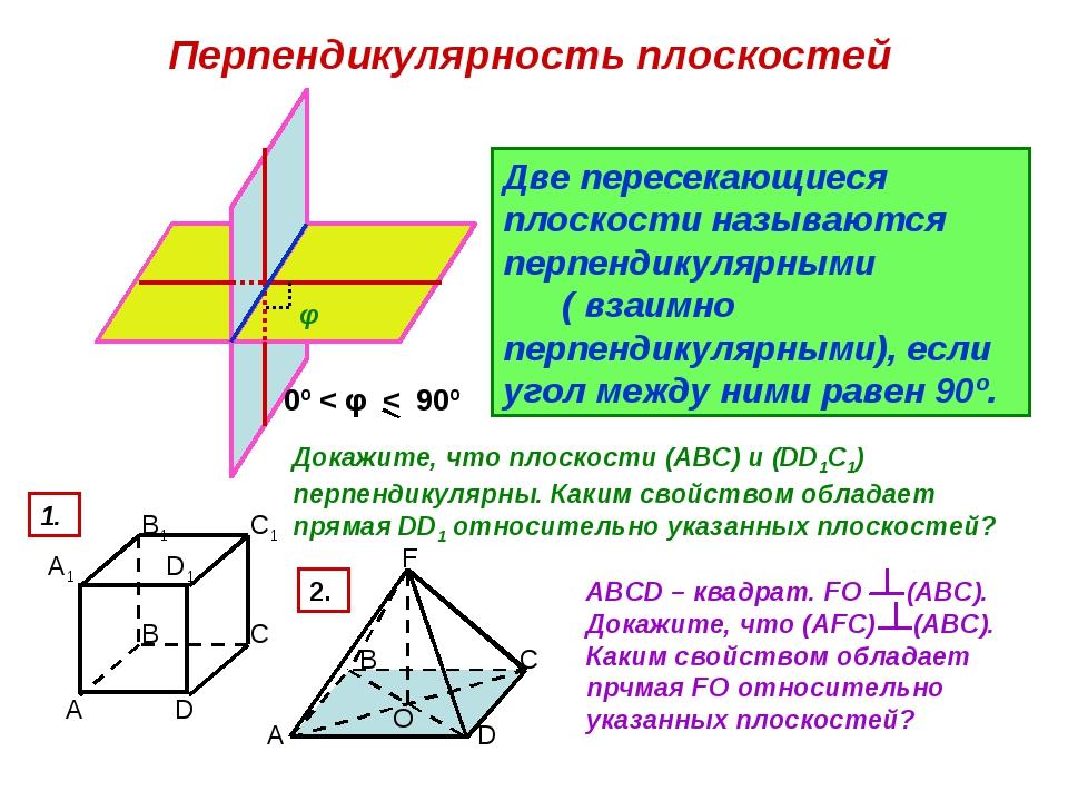 Перпендикулярность плоскостей φ Две пересекающиеся плоскости называются перпе...