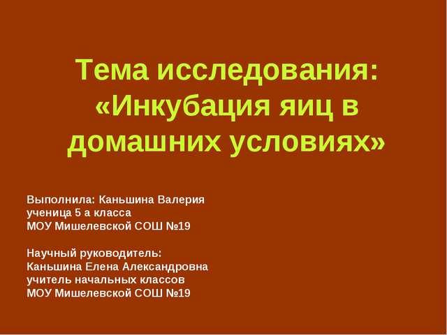 Тема исследования: «Инкубация яиц в домашних условиях» Выполнила: Каньшина В...