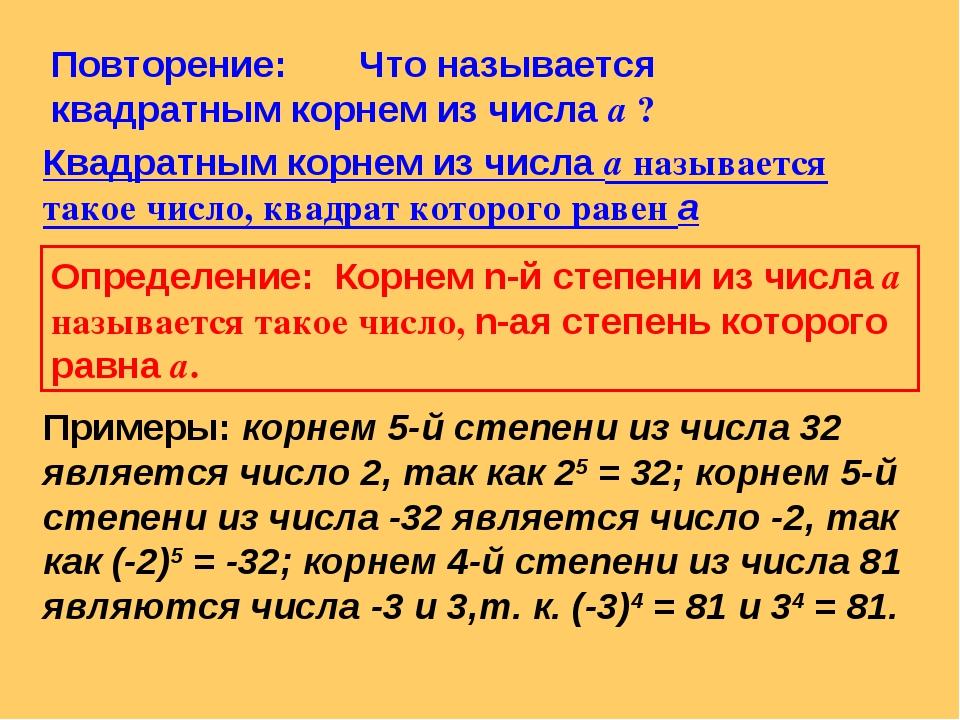 Повторение: Что называется квадратным корнем из числа а ? Квадратным корнем и...