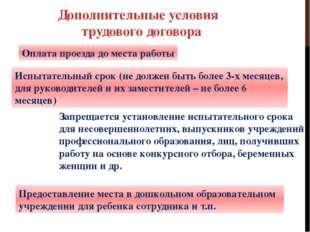 Дополнительные условия трудового договора Оплата проезда до места работы Испы